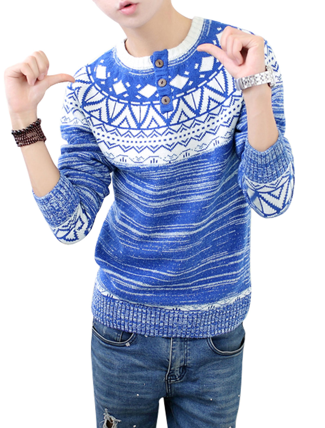 Argyle Pattern Long Raglan Sleeves Blue Sweater for Man S