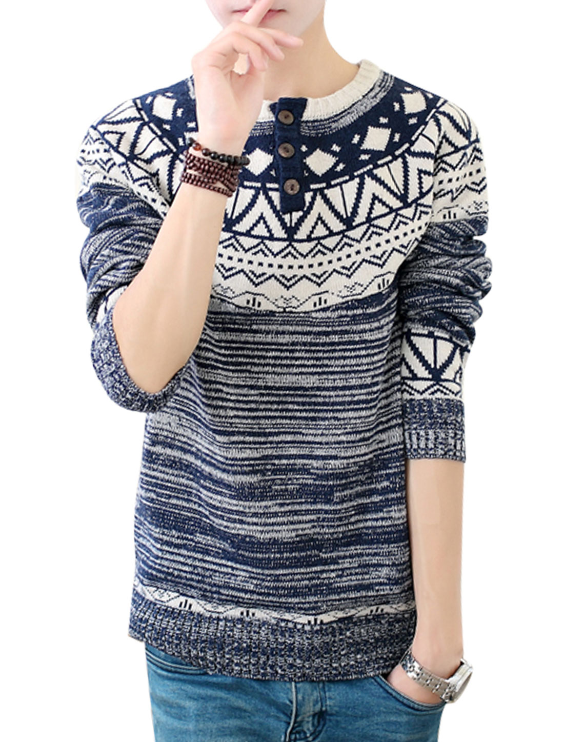 Long Raglan Sleeves Round Neck Pullover Navy Blue Sweater for Man S