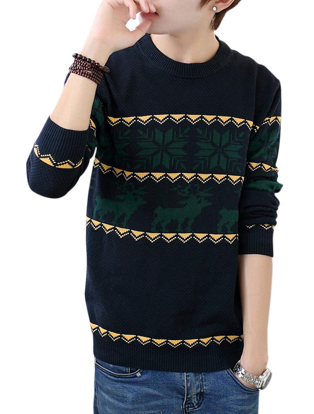 Men Navy Blue Pullover Zigzag Deer Snowflake Prints Slim Fit Leisure Sweater S