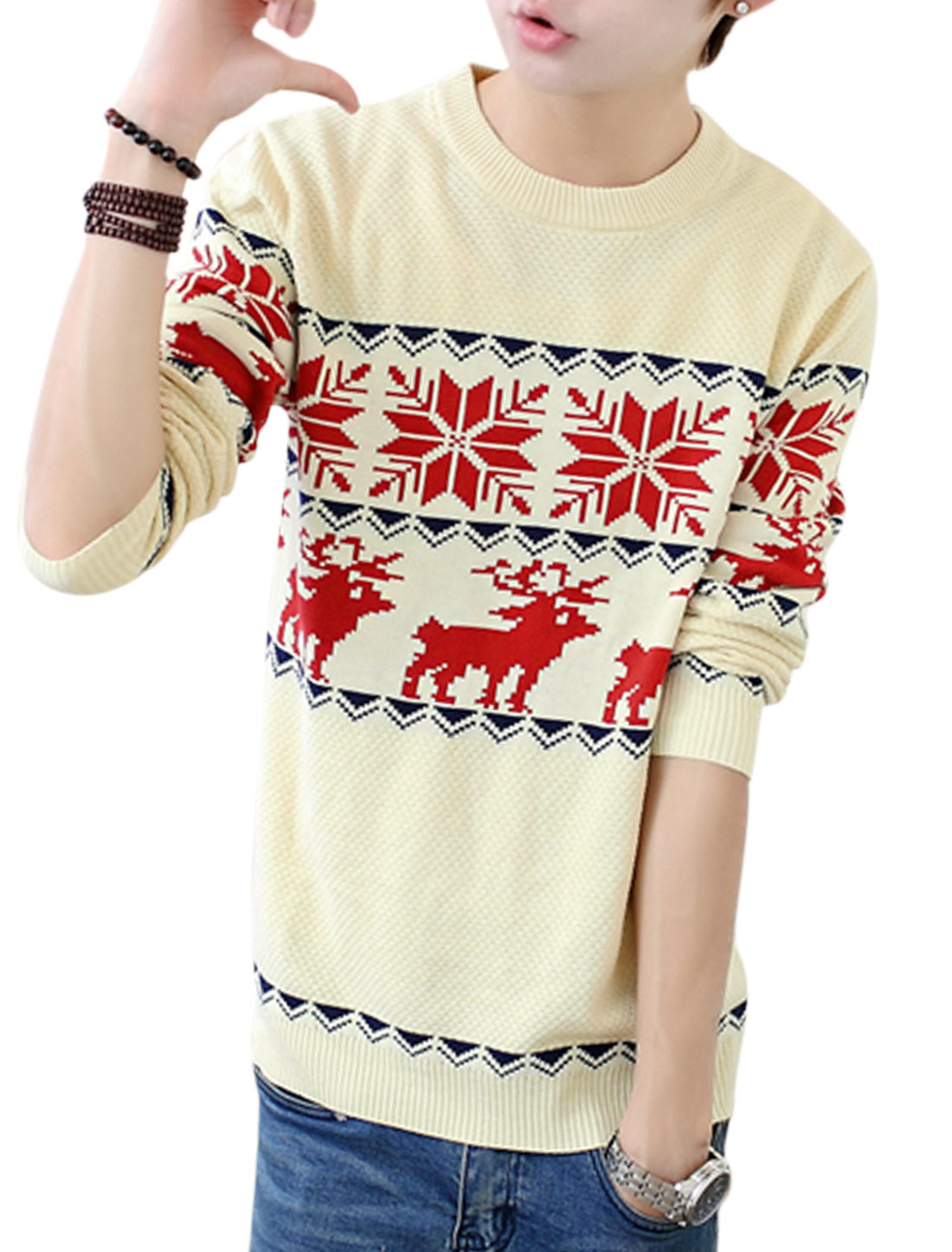 Men Beige Pullover Zigzag Deer Snowflake Prints Slim Cut Casual Sweater S
