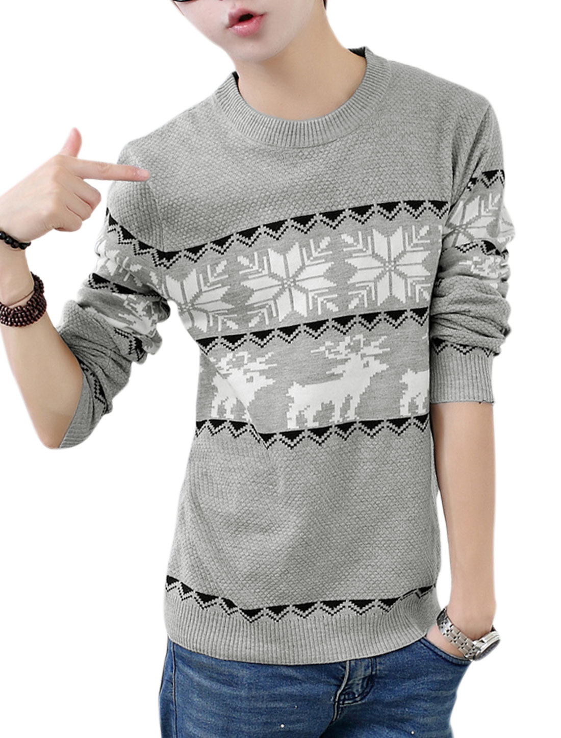 Men Gray Slipover Zigzag Deer Snowflake Prints Long Sleeves Slim Fit Sweater S