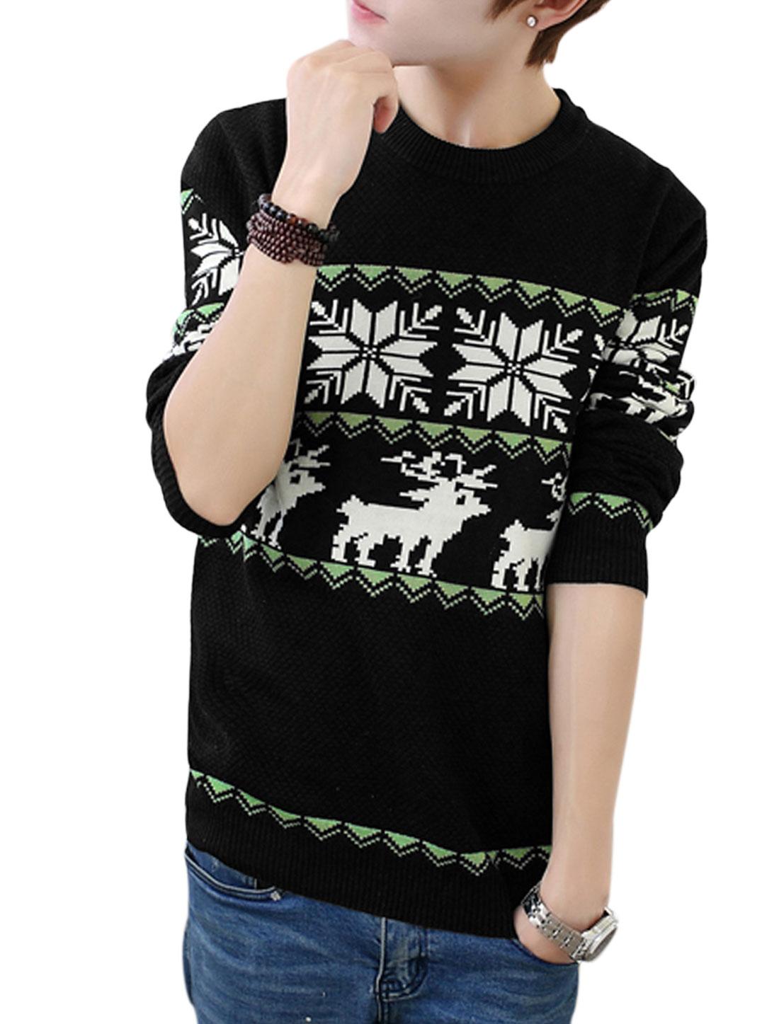 Men Black Slipover Zigzag Deer Snowflake Prints Cozy Fit Casual Sweater S