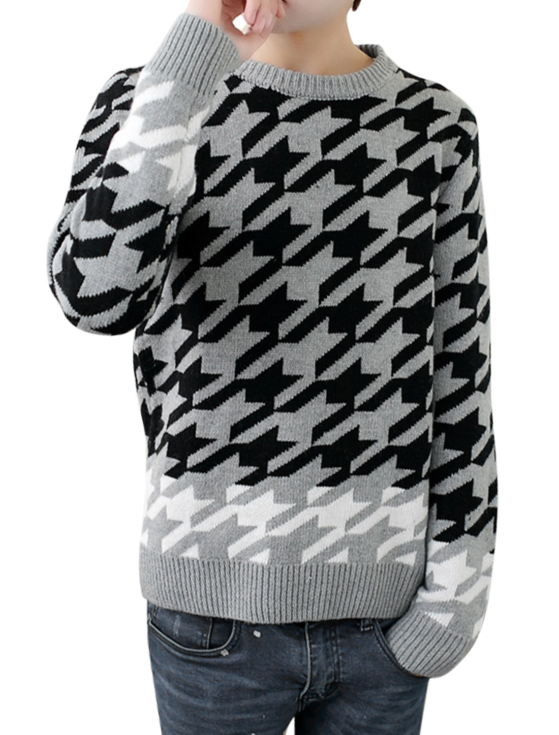 Men Houndstooth Pattern Long Sleeves Casual Sweater Gray Black S