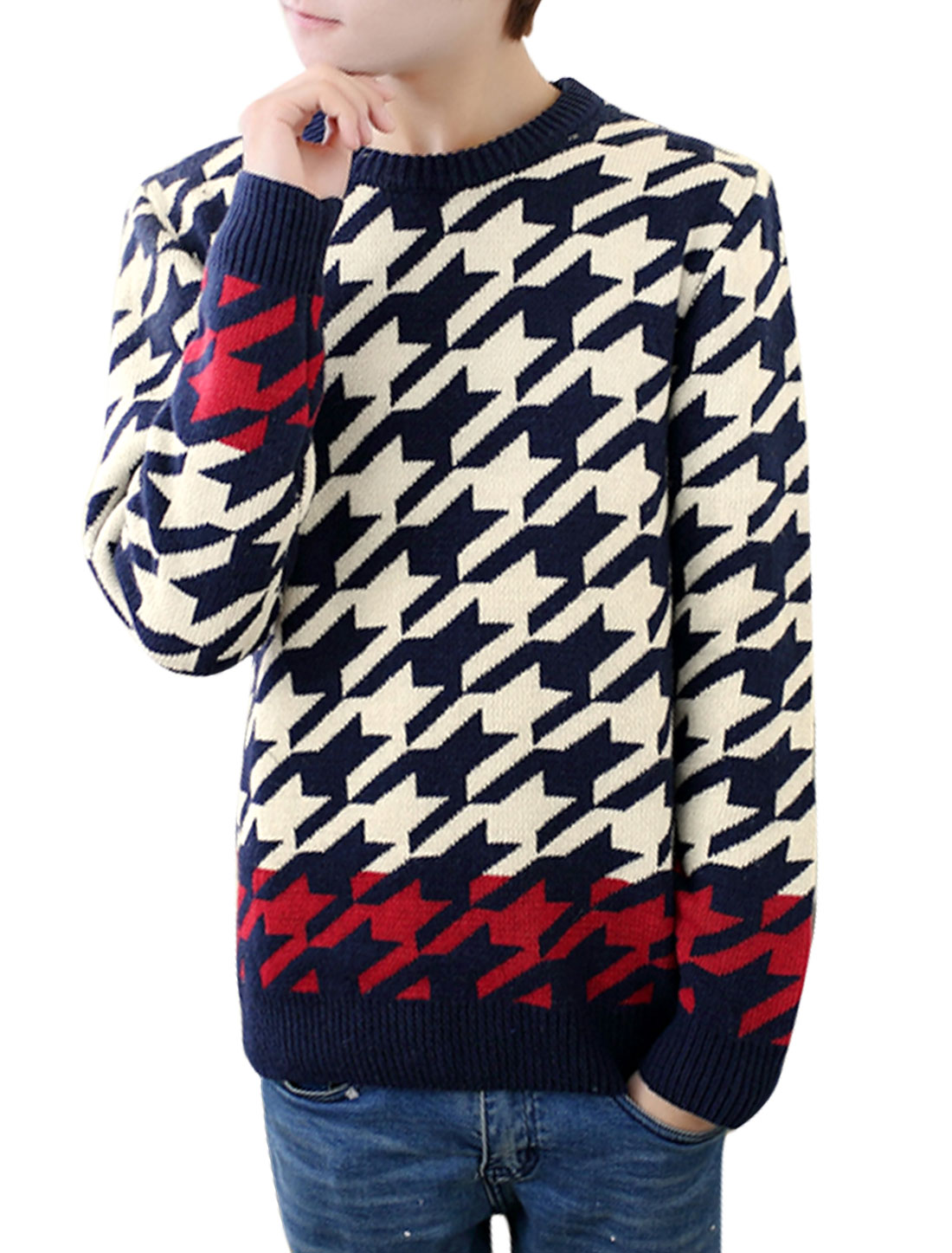 Houndstooth Pattern Slipover Cozy Fit Navy Blue Beige Casual Sweater for Man S