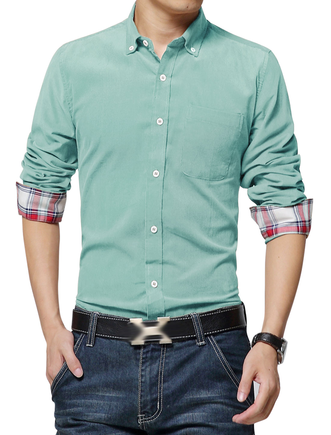 Man Full Sleeves Single Breasted Front Light Green Corduroy Shirt M