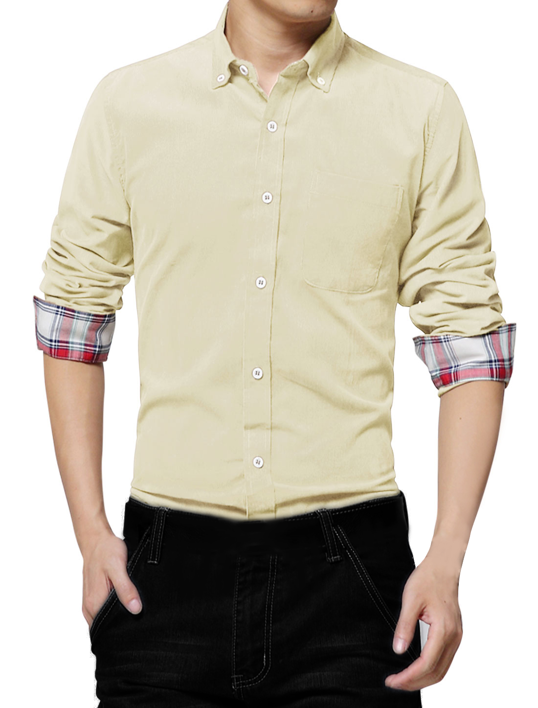Chest Pocket Design Point Collar Beige Corduroy Shirt for Man M