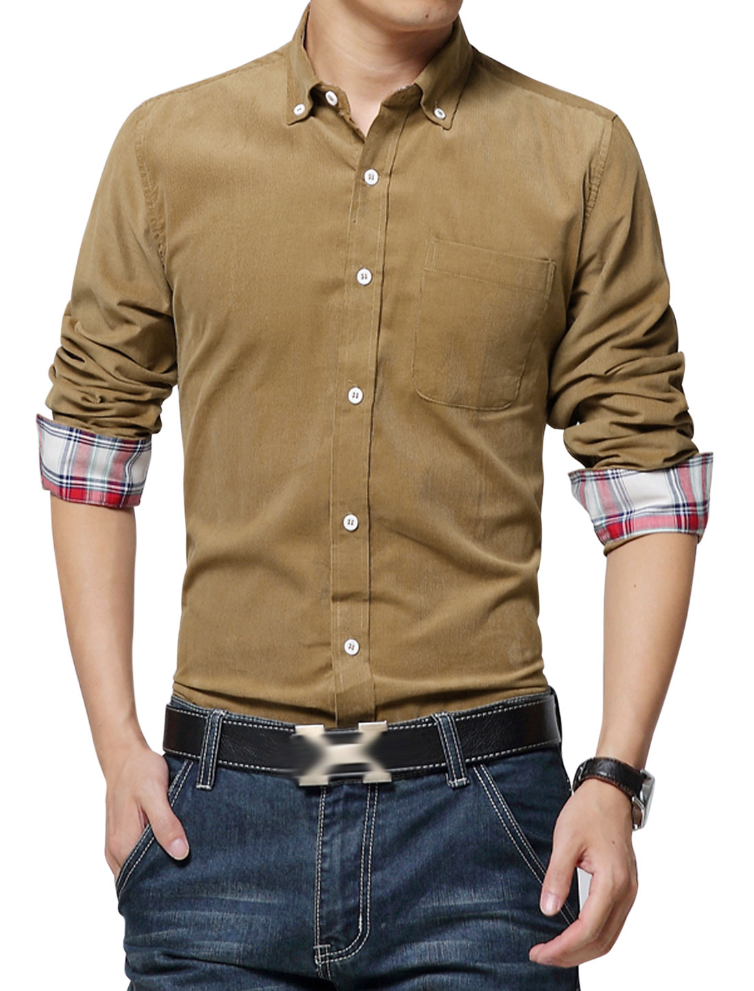 Fashion Design Long Sleeve Point Collar Brown Corduroy Shirt for Men M