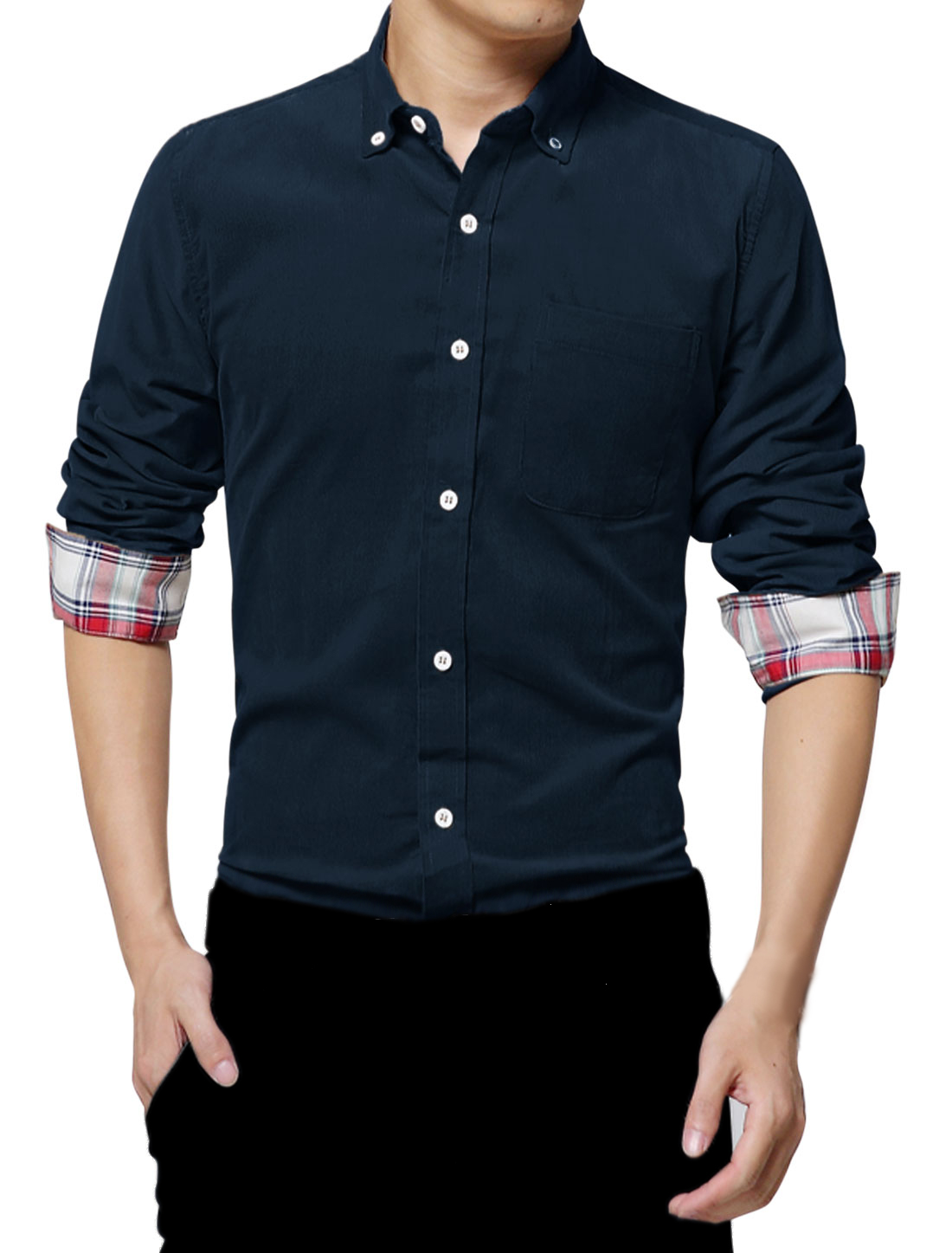 Man Leisure Design Long Sleeve Point Collar Navy Blue Corguroy Shirt M