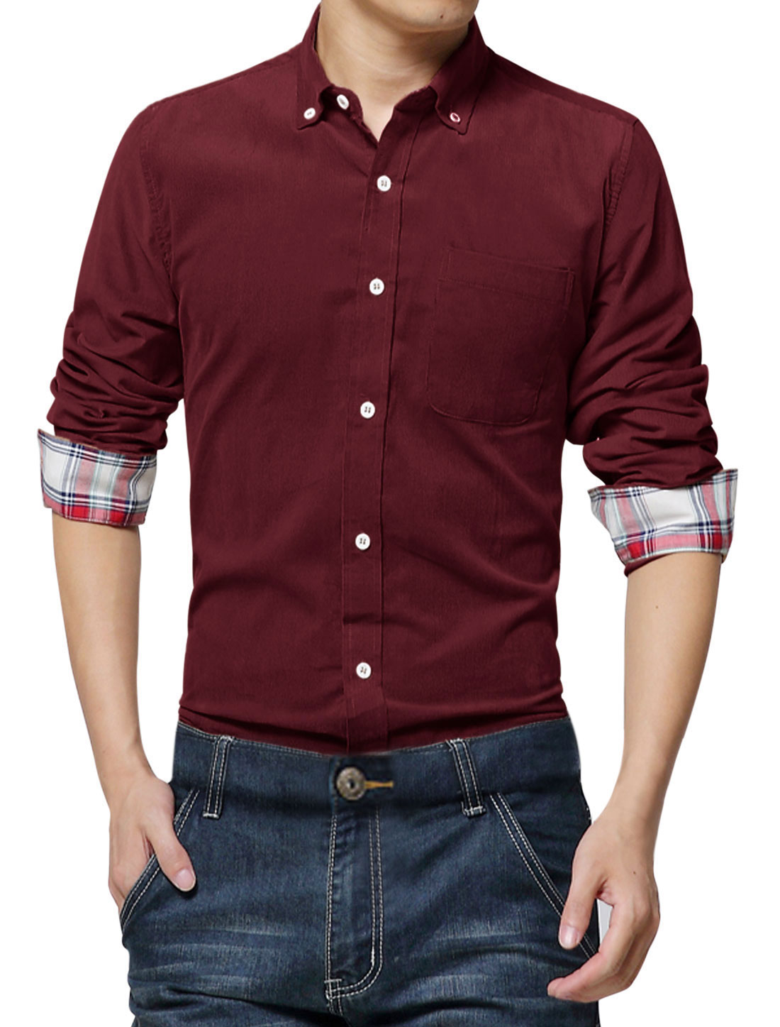 Man One Chest Pocket Full Sleeves Burgundy Corduroy Shirt M