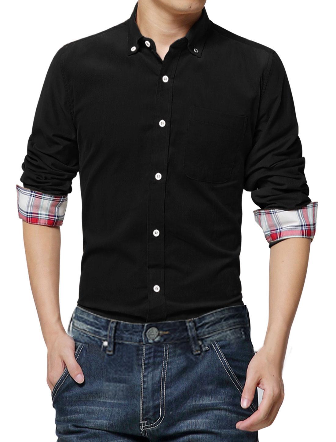 Stylish Long Sleeves Button Cuffs Black Corduroy Shirt for Man M