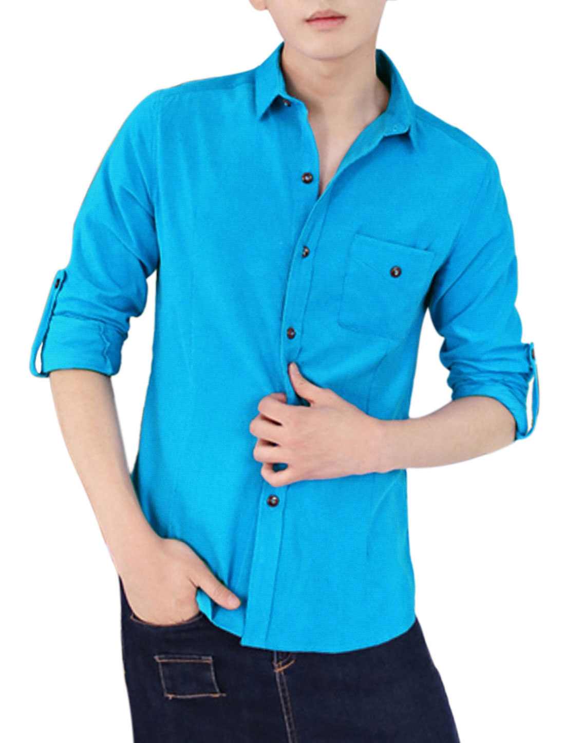 Men Slim Fit Button Closed Point Collar Corduroy Shirt Turquoise S