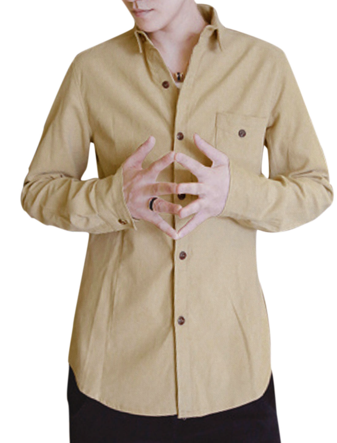 Man Roll-up Long Sleeves Point Collar Khaki Corduroy Shirt S