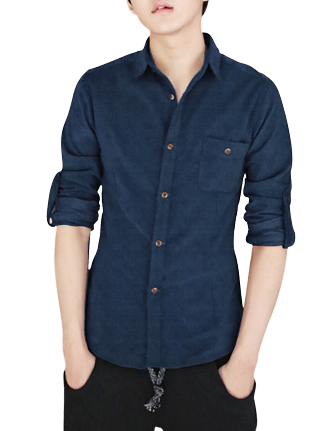 Man Button Closed One Bust Pocket Navy Blue Corduroy Shirt S