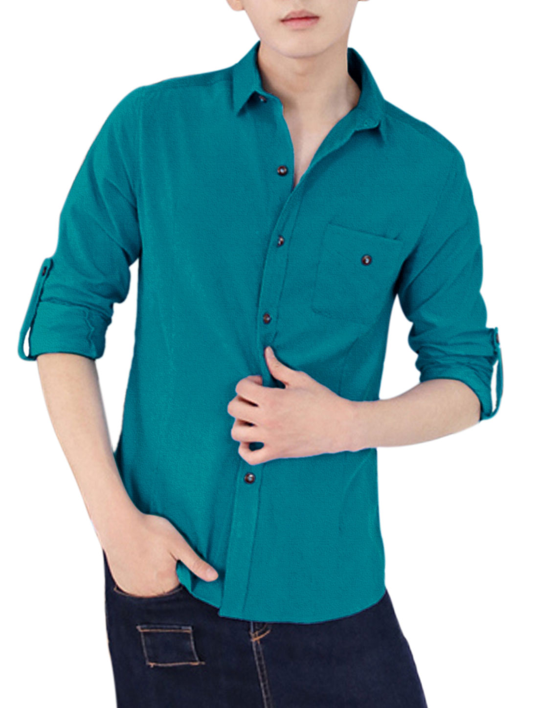 Roll-up Sleeves Single Breasted Blue Corduroy Shirt for Man S