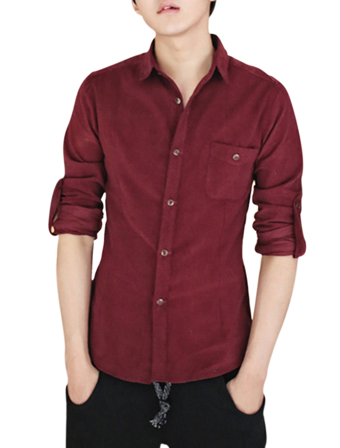 Man Stylish Slim Cut Full Sleeve Point Collar Burgundy Corduroy Shirt S