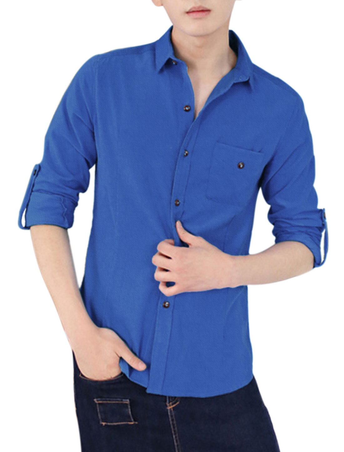 Roll-up Sleeves Button Cuffs Royal Blue Corduroy Shirt for Man S