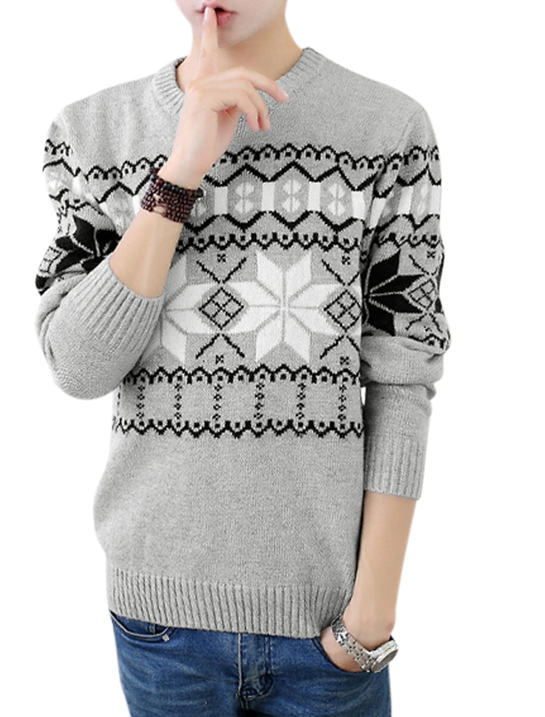 Men Crew Neck Geometric Pattern Long Sleeve Sweater Light Gray S