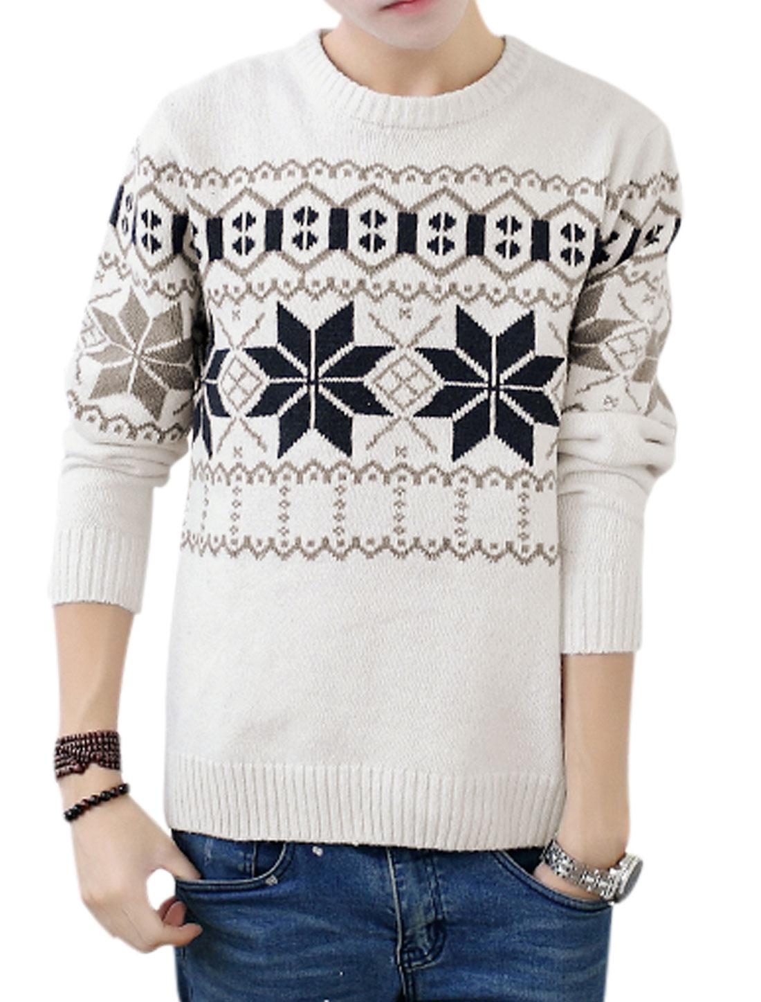 Fashion Design Full Sleeves Crew Neck Off White Sweater for Men S