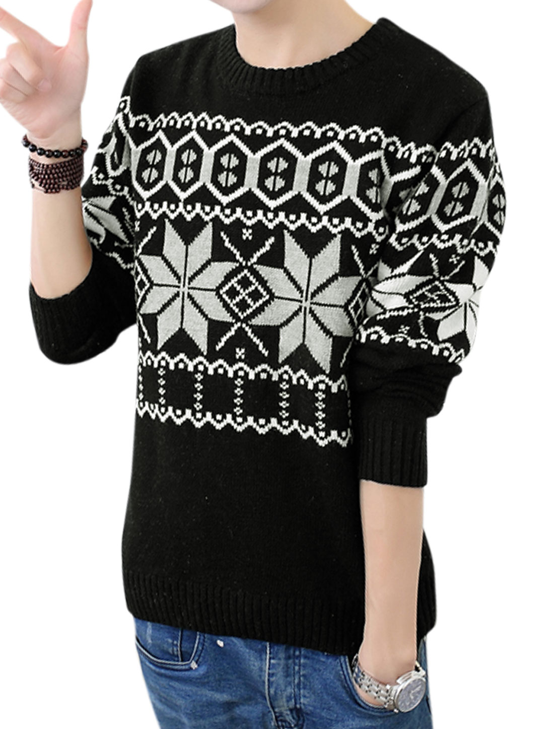 Men NEW Geometric Pattern Full Sleeve Cozy Fit Black Sweater S