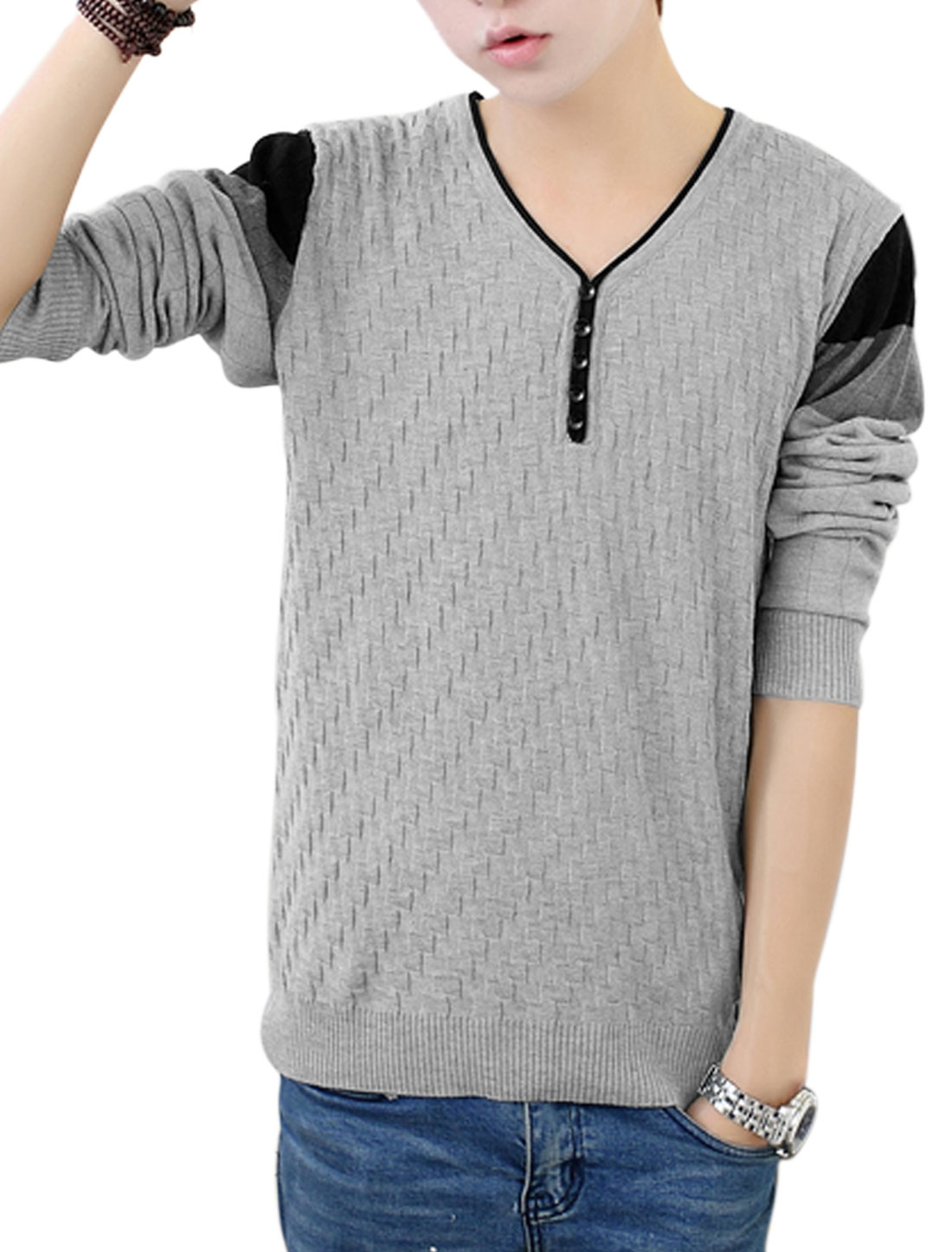 Men Gray Pullover Weaven Pattern Button Decor Ribbed Trim Leisure Knit Shirt S