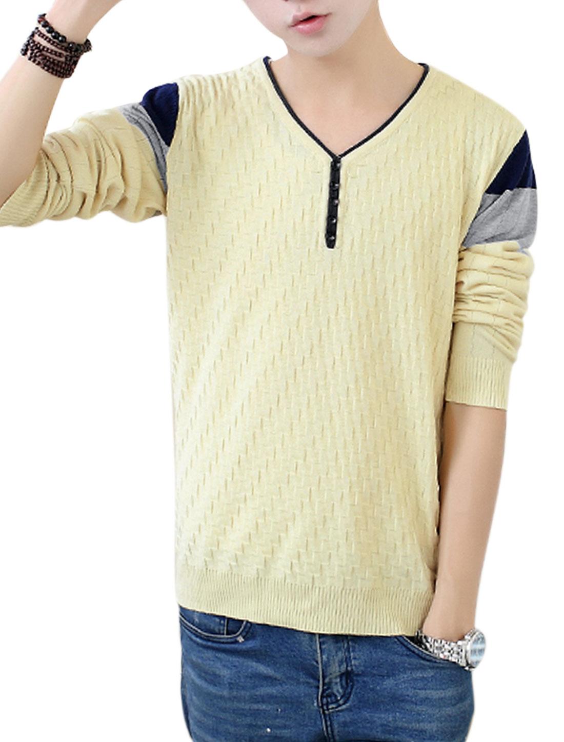 Men Beige Slipover Weaven Pattern Button Decor Slim Fit Casual Knit Shirt S