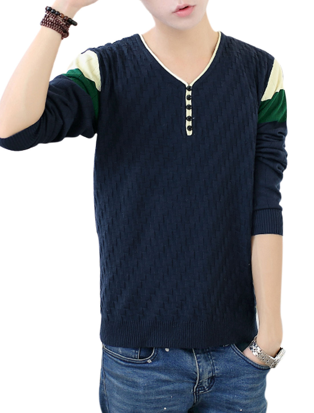Men Navy Blue Pullover Weaven Pattern Button Decor Long Sleeves Knit Shirt S