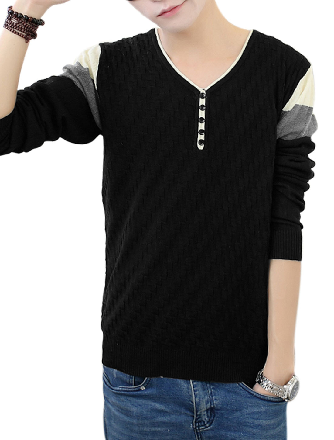 Men Black Pullover Weaven Pattern V Neck Ribbed Trim Casual Knit Shirt S