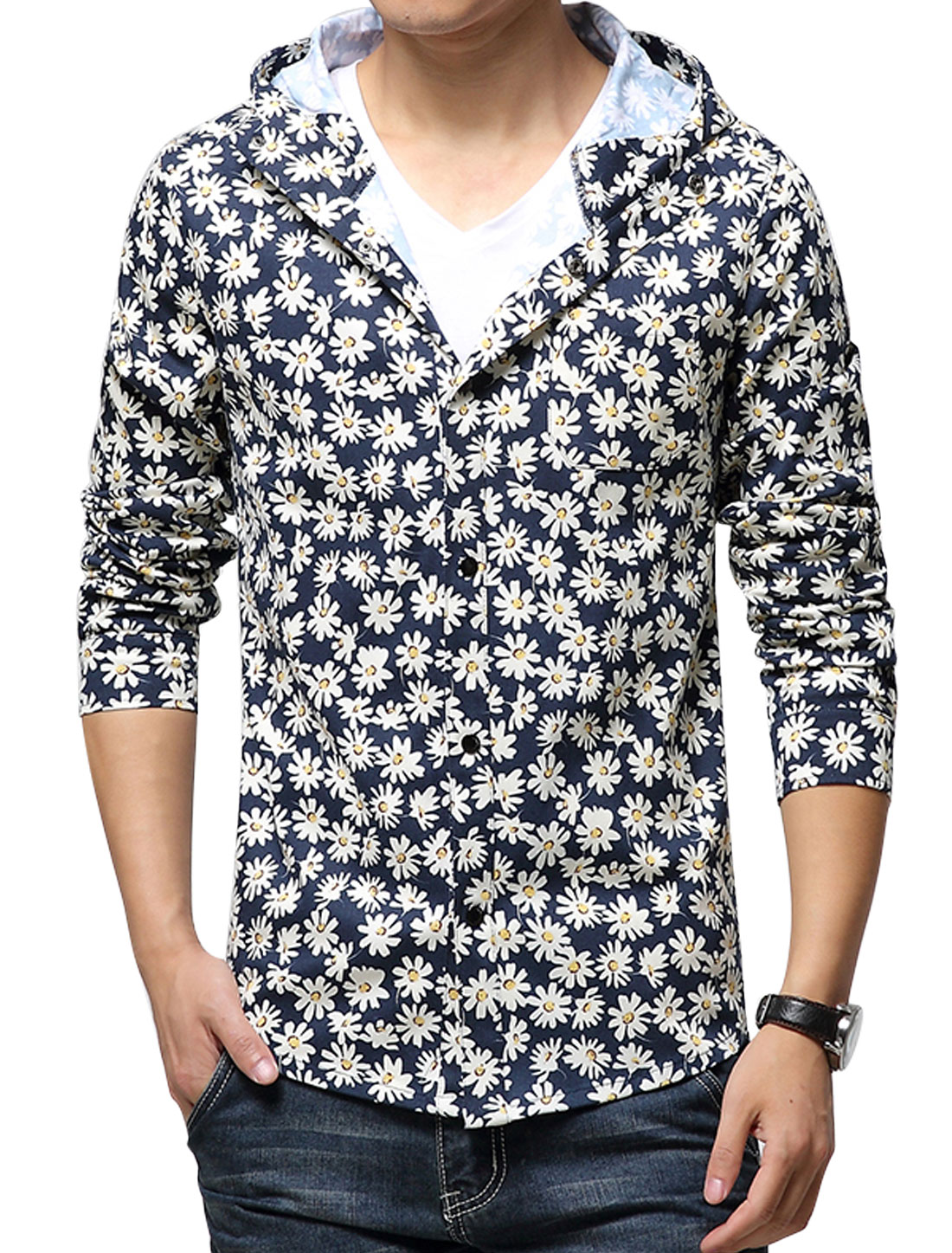 Men Long Sleeves Button Down Floral Prints Hooded Jacket Navy Blue Beige S