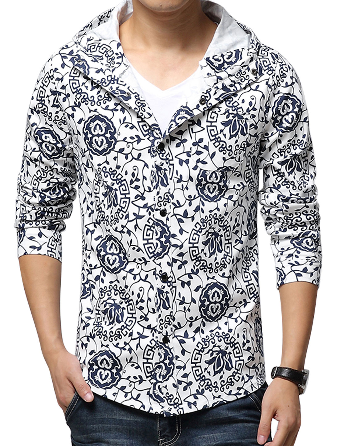 Men Hooded Floral Prints Long Sleeves Button Closed Jacket White Navy Blue S