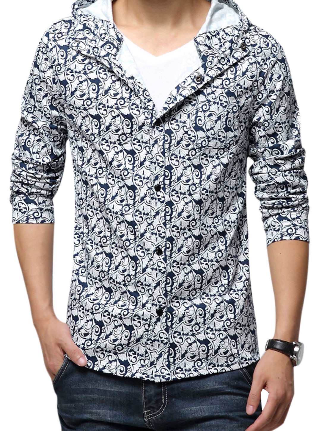 Men Hooded Novelty Prints Single Chest Pocket Button Up Jacket Navy Blue White S