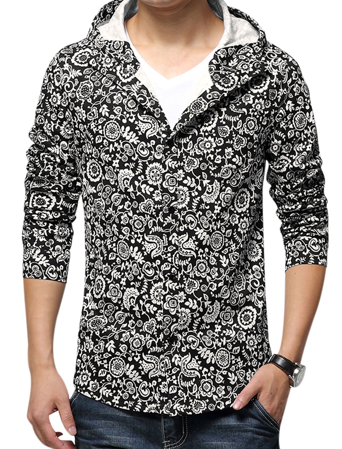 Men Hooded Long Sleeves Flower Prints New Style Jacket Black Beige S