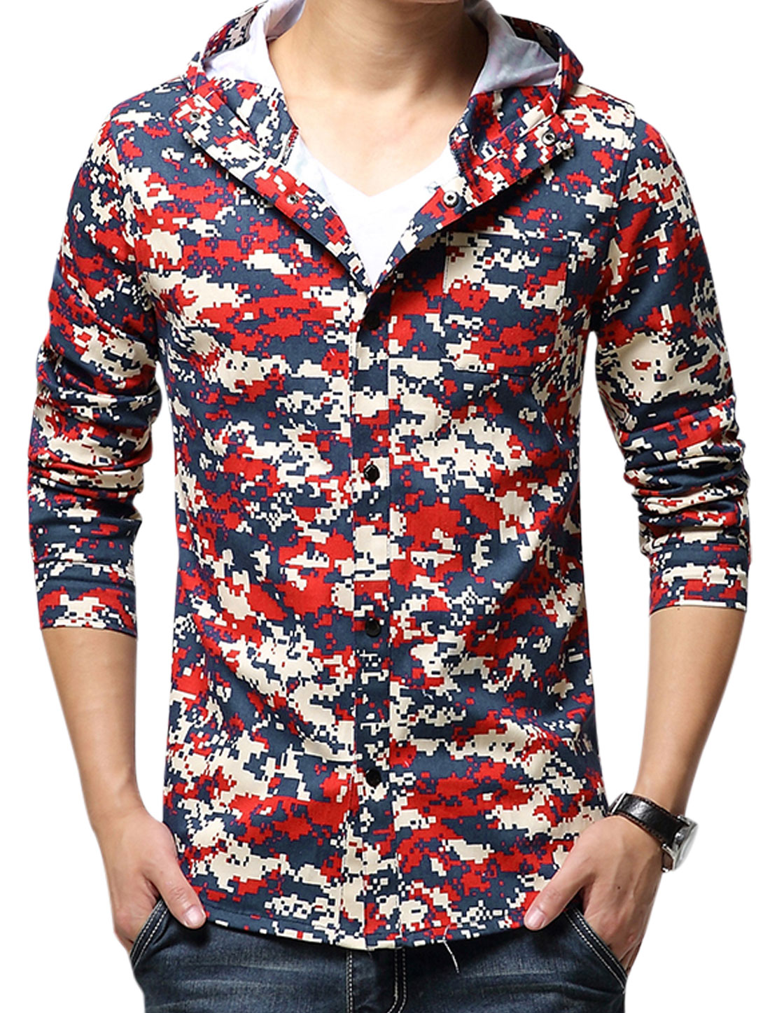 Men Hooded Novelty Geometric Prints Button Closure Newly Jacket Multicolor S