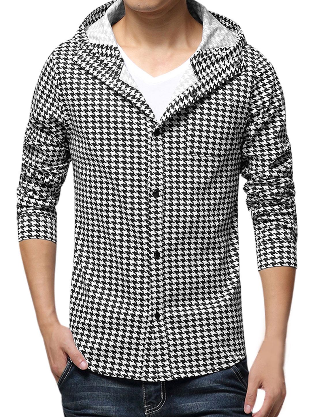 Men Houndstooth Pattern Hooded Long Sleeves Round Hem Jacket Black White S