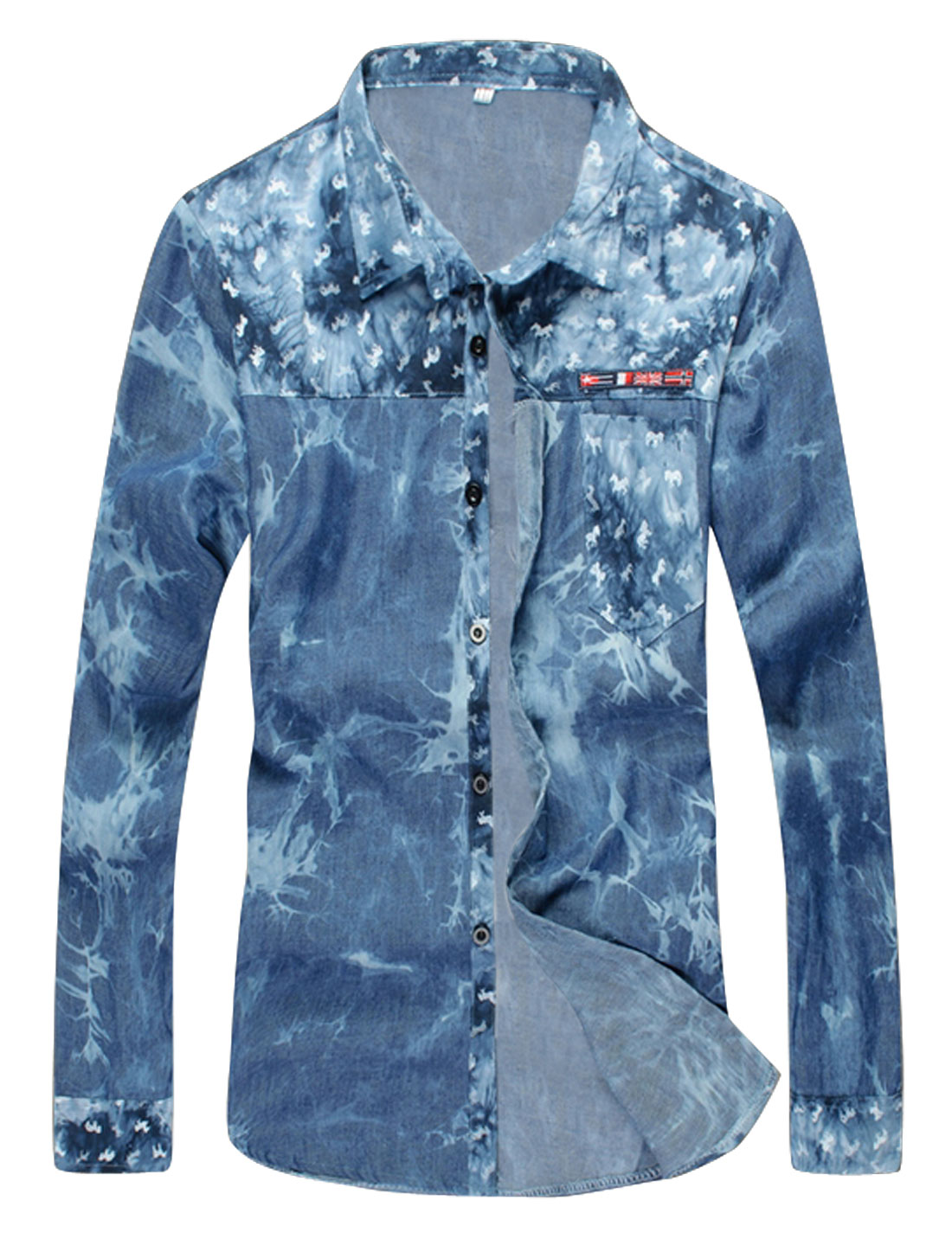 Men Horse Pattern Long Sleeve Spliced Casual Shirt Blue S