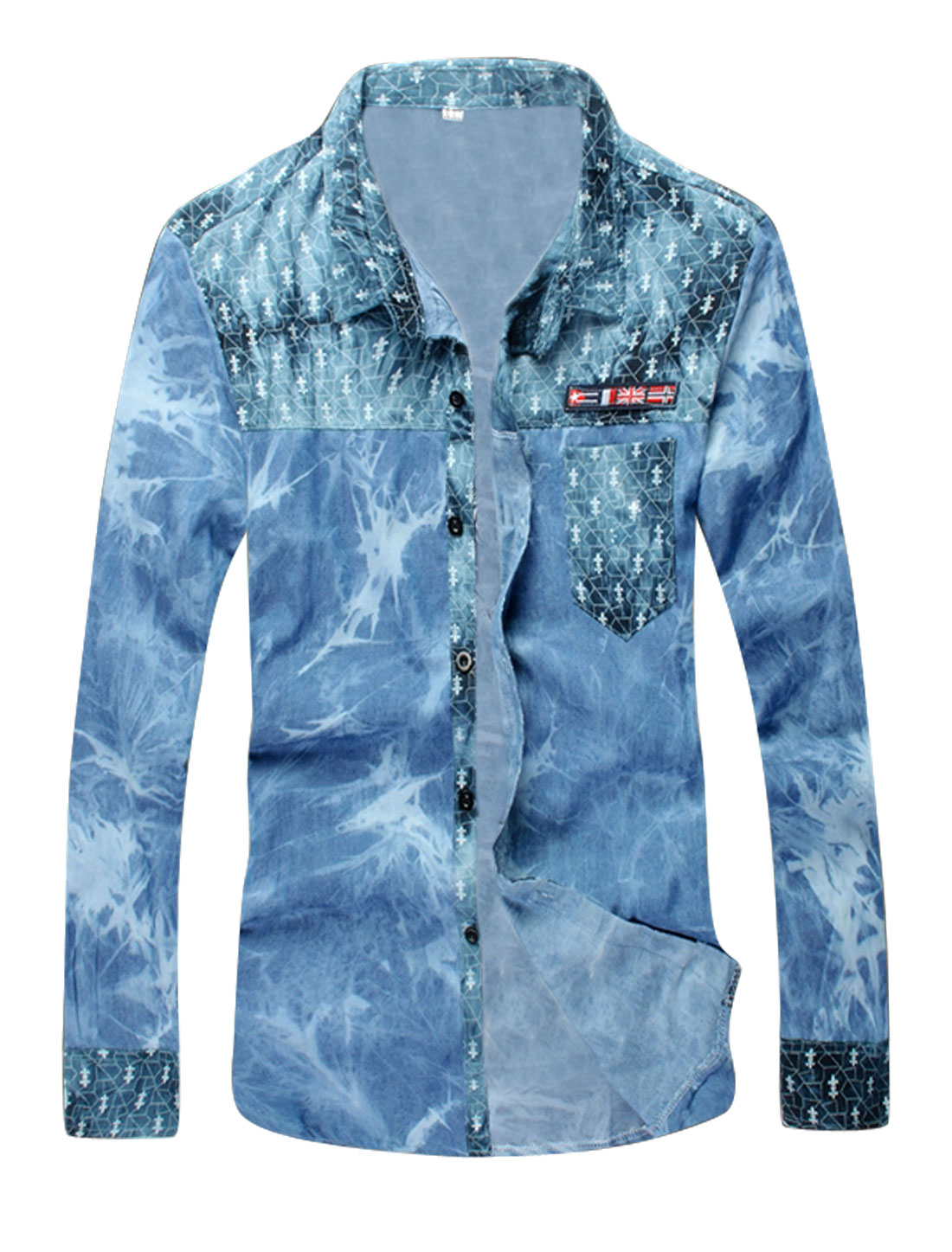 Men Novelty Prints Single Breasted Spliced Casual Shirt Blue S