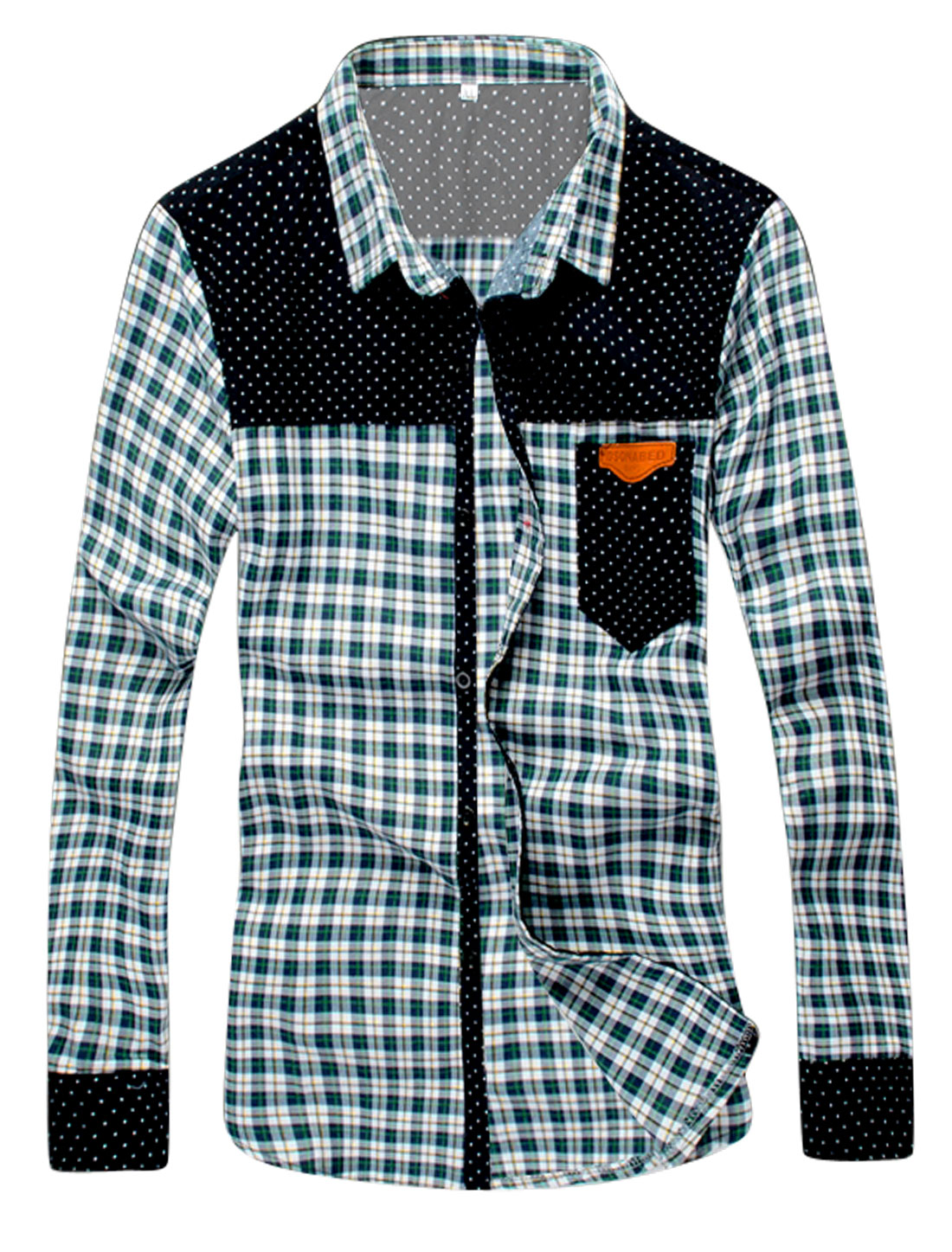 Men Plaids Dots Spliced Button Closed Casual Shirt Green White S