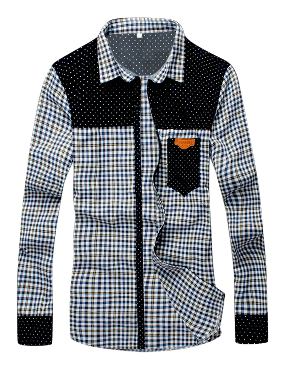 Plaids Panel Button Closure Front Shirt for Men Yellow White S
