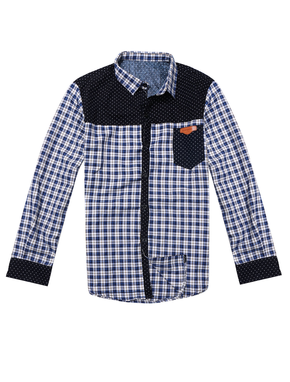 Man Panel Plaids Long Sleeves Blue White Casual Shirt S