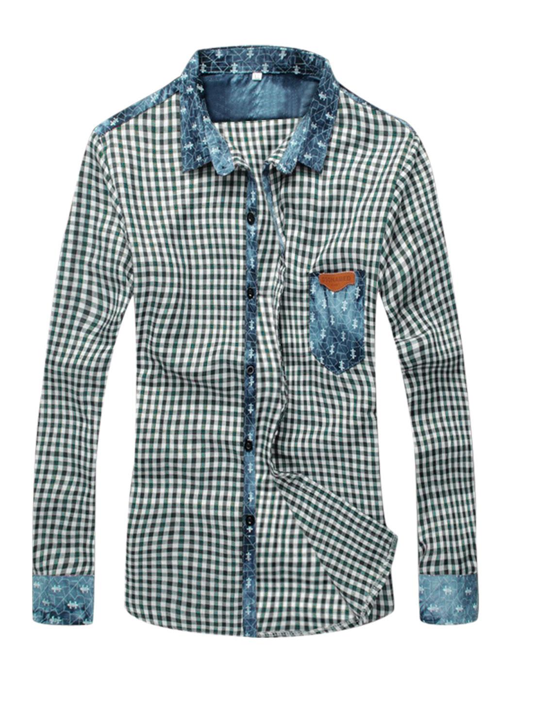Men Point Collar Plaids Panel Design Casual Shirt Green White S