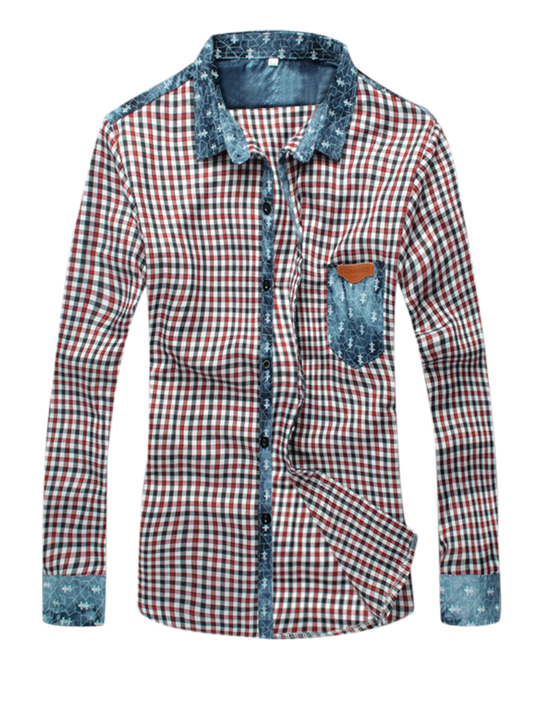 Man Panel Design Plaids Long Sleeves Red White Casual Shirt S
