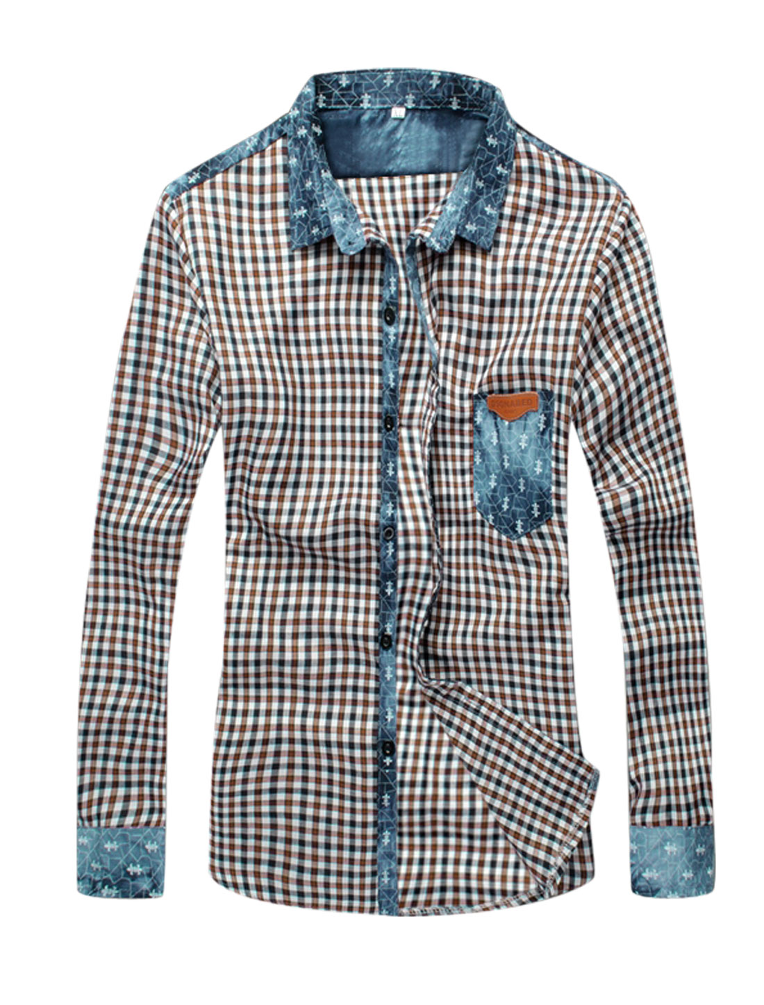 Splicing Long Sleeves Plaids Button Down Coffee White Casual Shirt for Man S