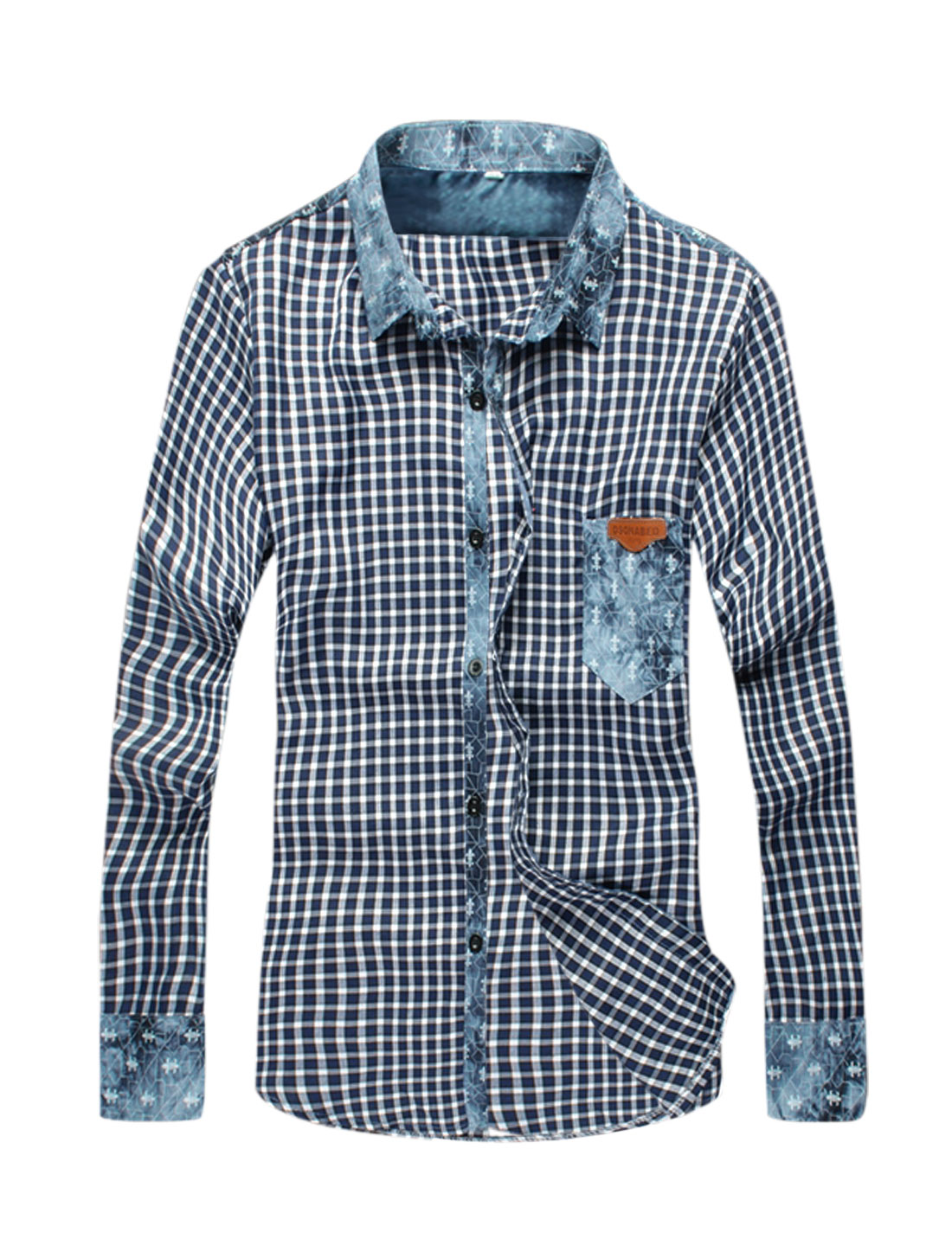 Men Splicing Design Plaids Long Sleeves Casual Shirt Navy Blue White S