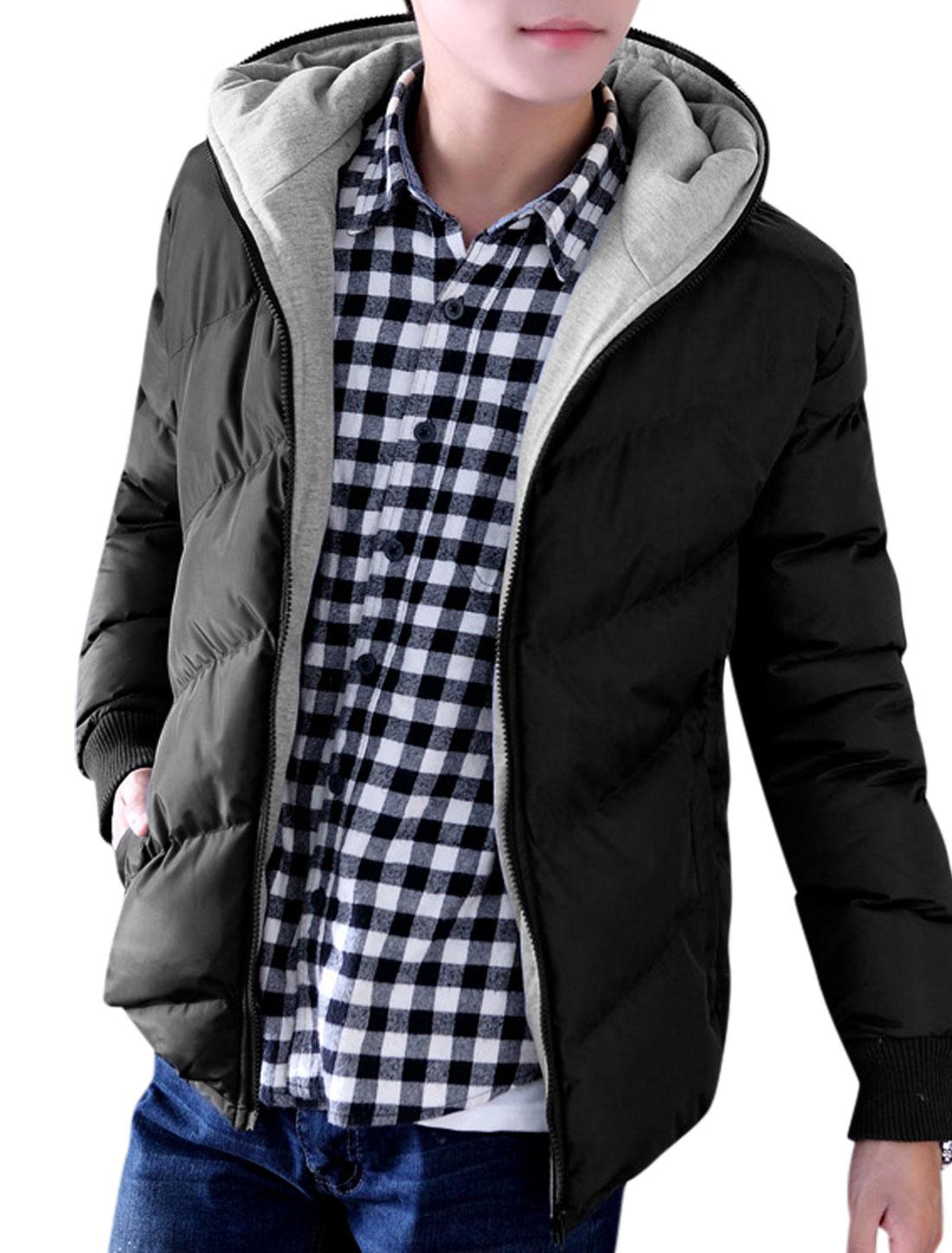 Men Hooded Long Sleeves Zip Closure Ribbed Trim Casual Padded Coat Black Gray M