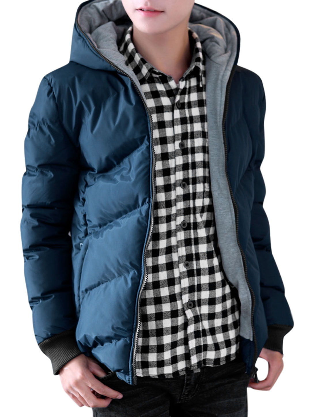 Men Hooded Long Sleeves Full Zip Chic Padded Coat Blue Gray M