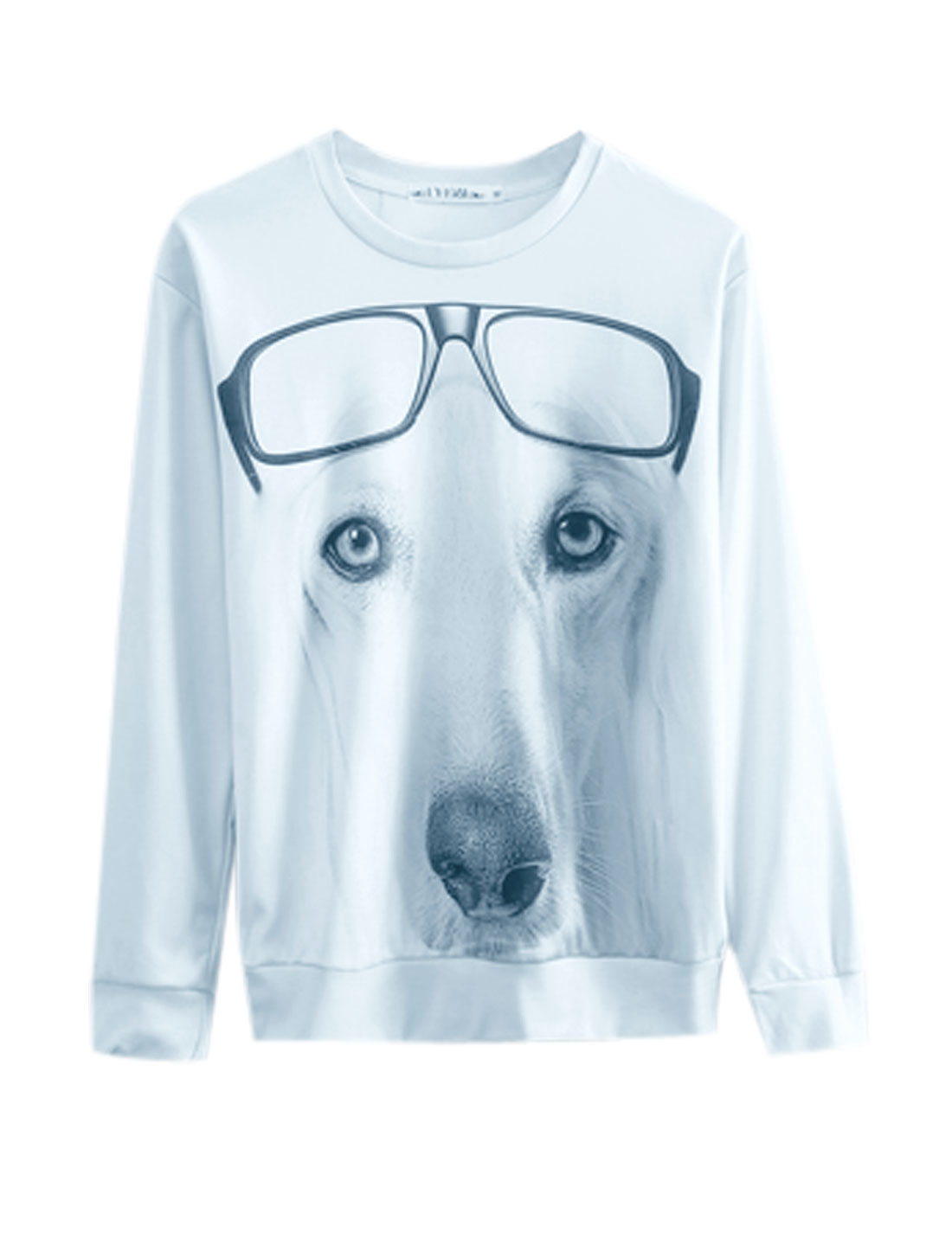 Men White Pullover 3D Dog Print Long Sleeves Leisure Sweatshirt M