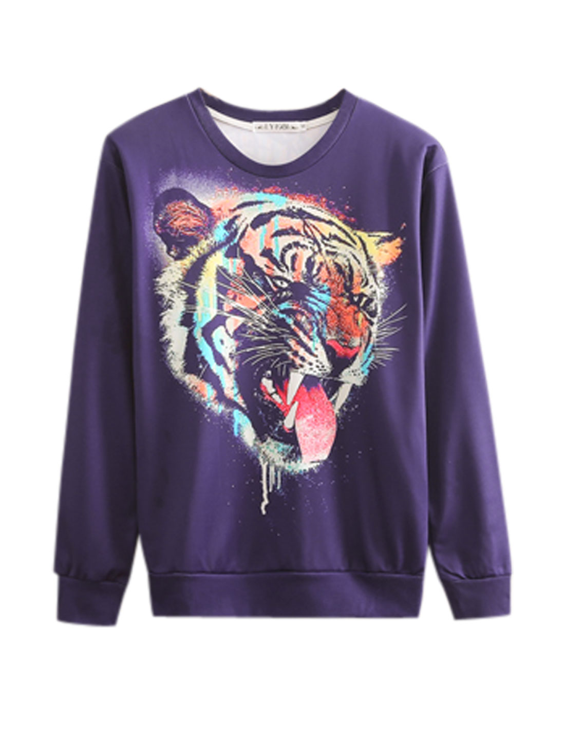 Men Purple Pullover Round Neck Long Sleeves Tiger Prints Leisure Sweatshirt M
