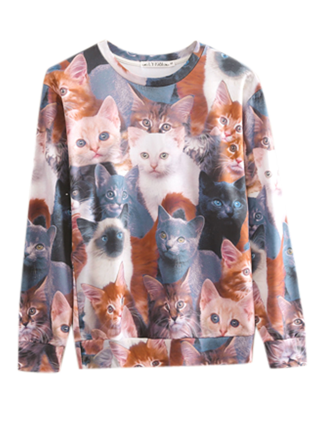 Round Neck Cats Pattern Newly Sweatshirt for Men Multicolor M