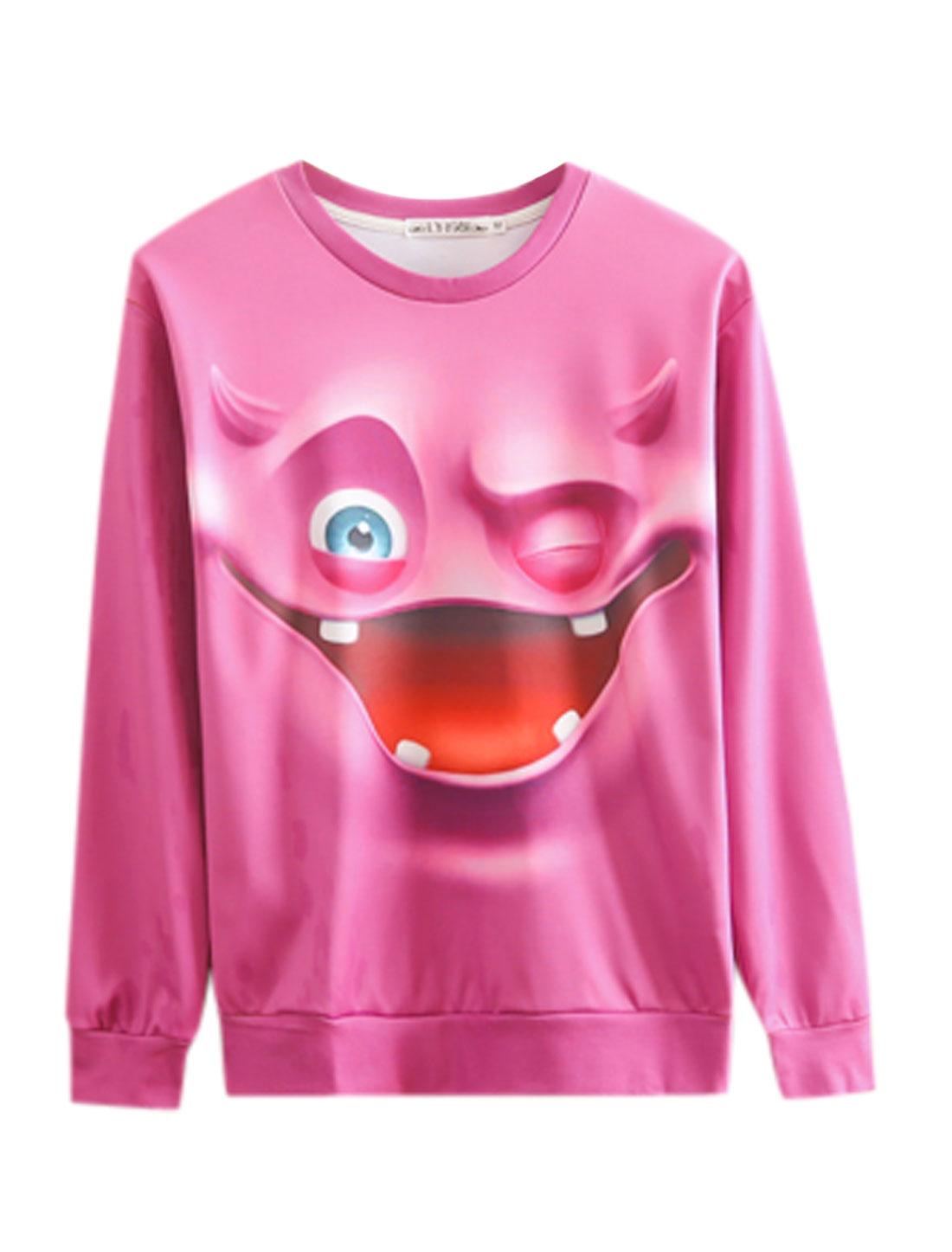 Round Neck Cartoon Pattern Slipover NEW Sweatshirt for Men Fuchsia M
