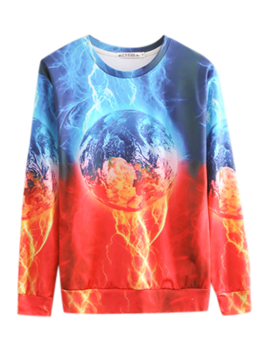 Men Long Sleeves Lightning Prints Contrast Color Chic Sweatshirt Blue Orangel M