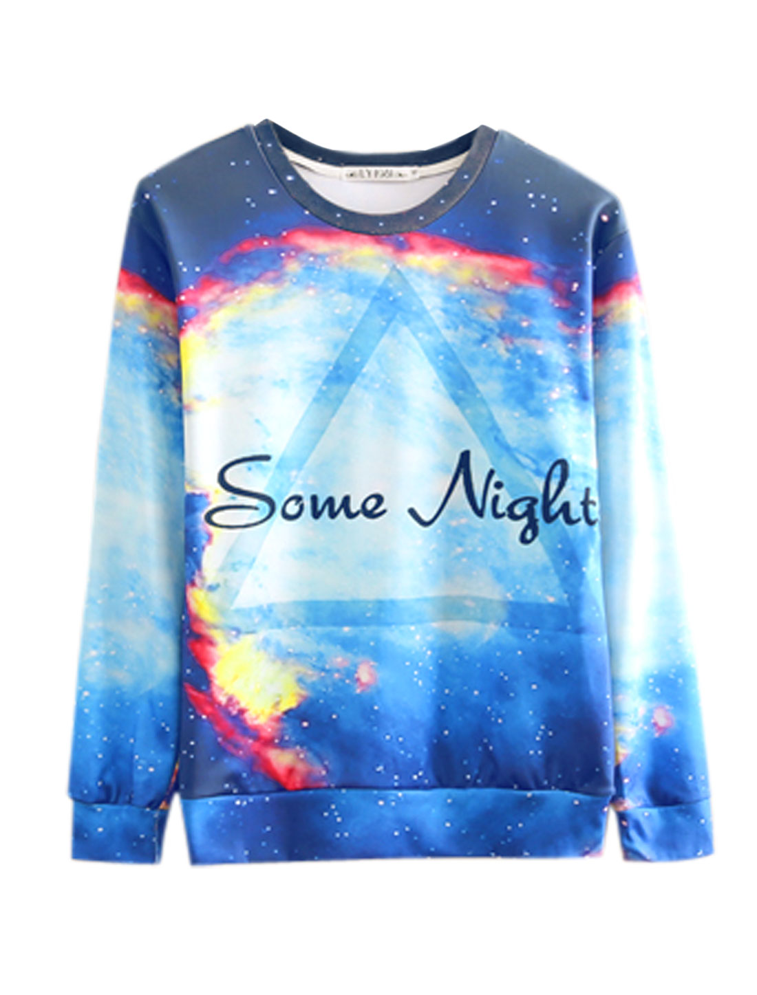 Men Blue Purple Pullover Galaxy Letters Geometric Prints Long Sleeves Sweatshirt M